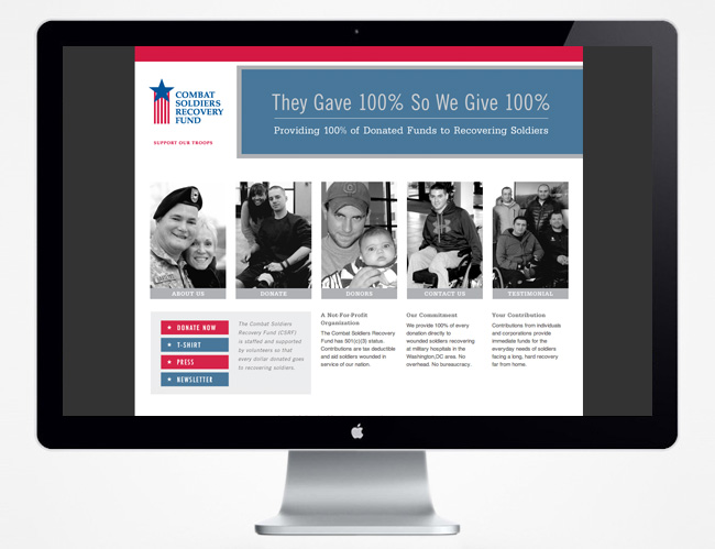 Comella Design Group | Combat Soldiers Recovery Fund Website Home Page