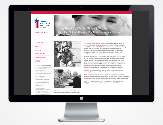 Comella Design Group | Combat Soldiers Recovery Fund Website About Us Page